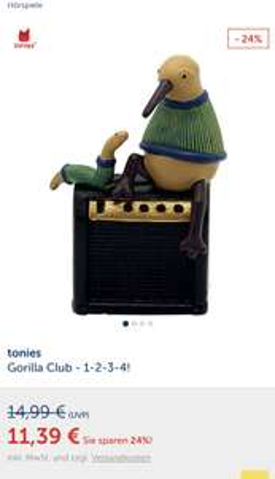 Tonies Gorilla Club 1-2-3-4 Tonie Musik Hörfigur für Toniebox