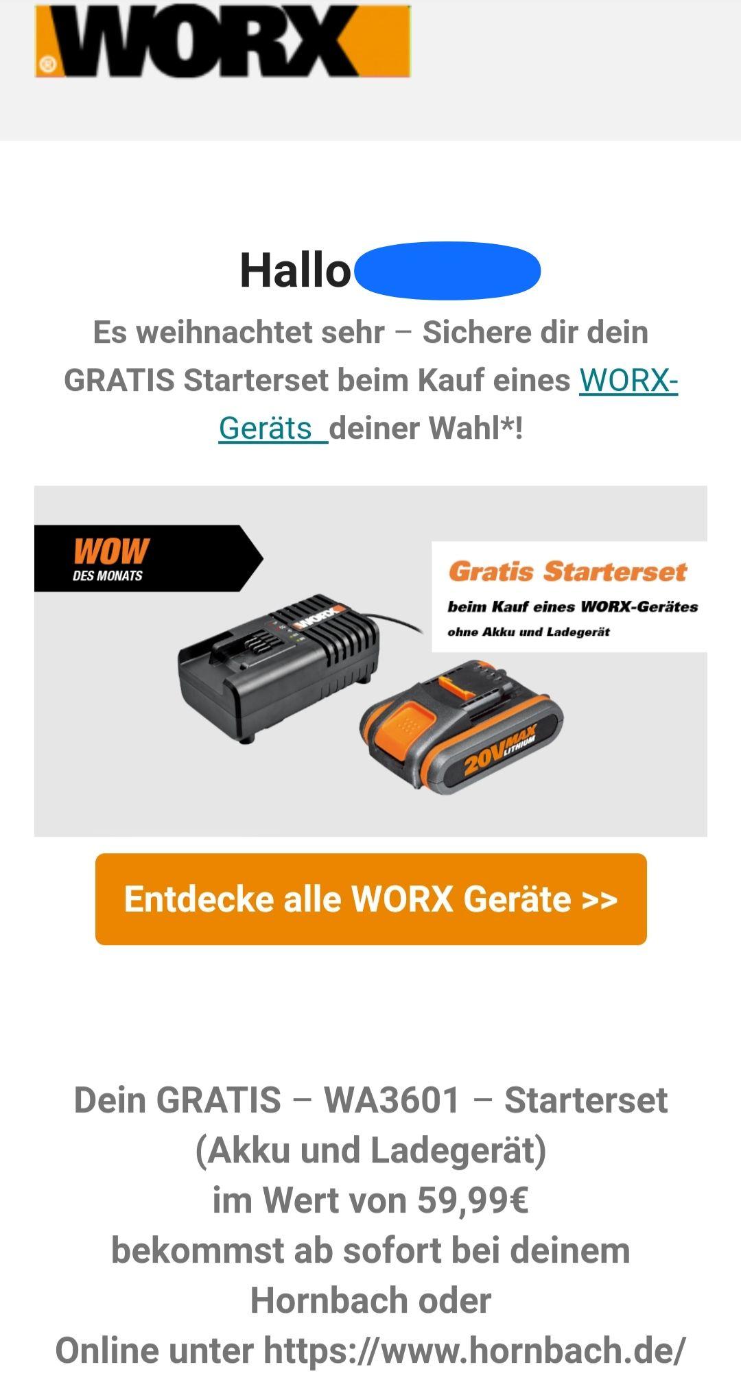 [WORX & HORNBACH] GRATIS – WA3601 – Starterset (Akku 20V 2.0 Ah und Ladegerät) im Wert von 59,99€ bei Kauf Akkuprodukt ohne Akku + Ladegerät