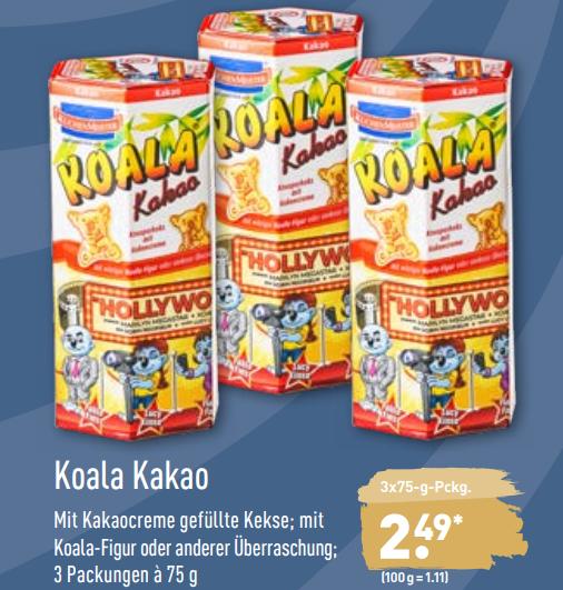 3x Kuchenmeister Koala Kakao für 2,49€ (=0,83€/Packung) ab 29.11.19 [ALDI NORD]