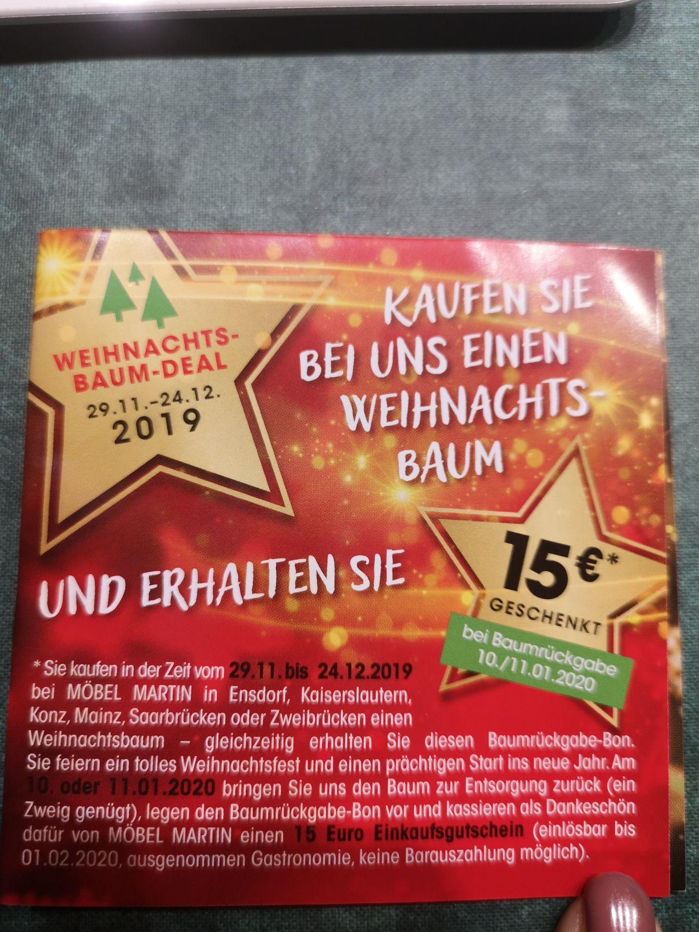Möbel Martin Weihnachtsbaumdeal mit 15€ Gutschein beim Kauf eines Weihnachtsbaumes