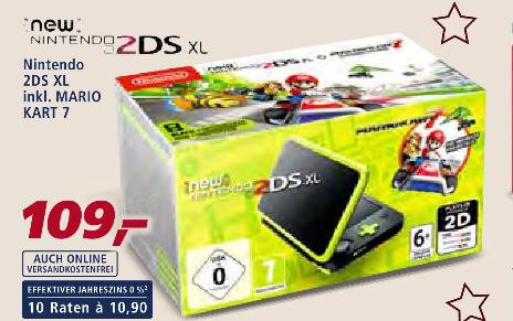 [real Family & Friends - nur am 02.12.] Nintendo New 2DS XL schwarz-apfelgrün + Mario Kart 7 für 88,29€