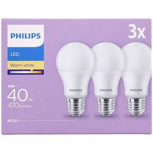 Philips 3er-LED-Lampenset (E27-Fassung, 6 Watt, 470 Lumen, Warmweiß) [ACTION]
