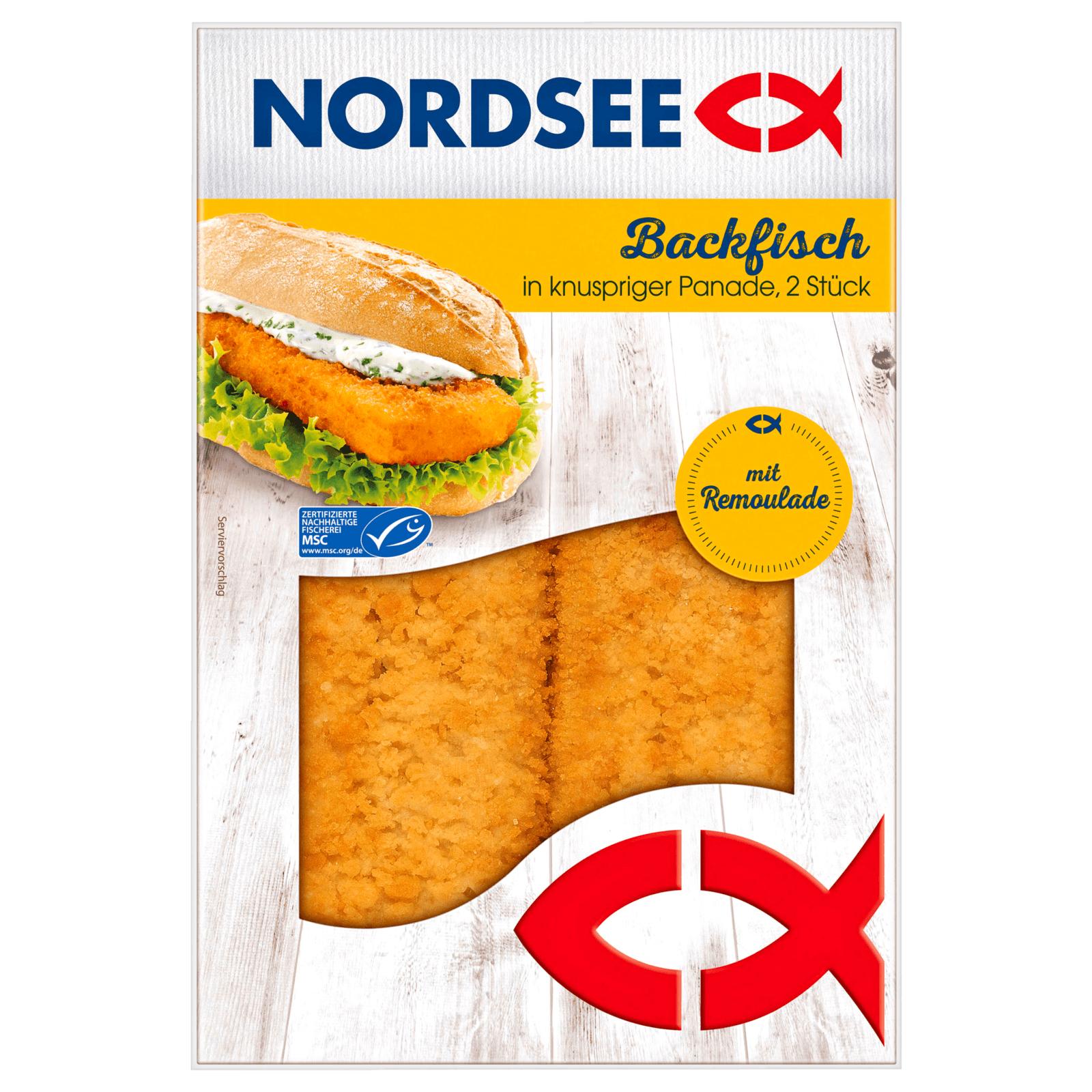 Nordsee Backfisch mit Remoulade Genuss für Zuhause mit Sofortrabatt (Coupon) bei Rewe oder an den real SB-Kasse für 1,49€