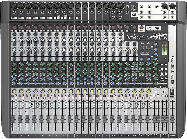 Soundcraft Signature 22MTK: Mischpult (22-Kanal, 16 Mono-Inputs, 4 Stereo-Inputs, 4 Band EQ, 8 Mic Kanäle)