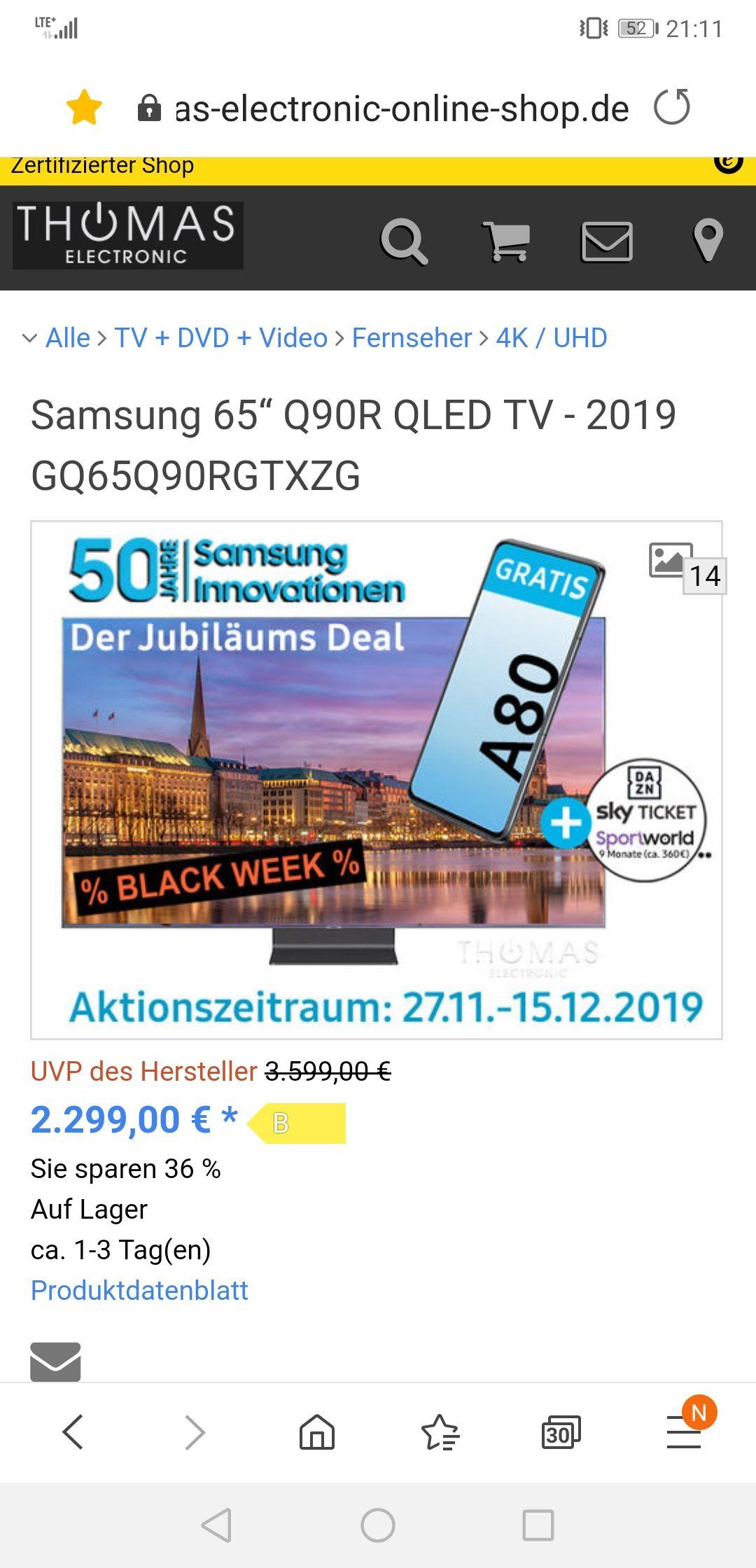 """Samsung 65"""" Q90R QLED TV - 2019 + Samsung Galaxy A80"""