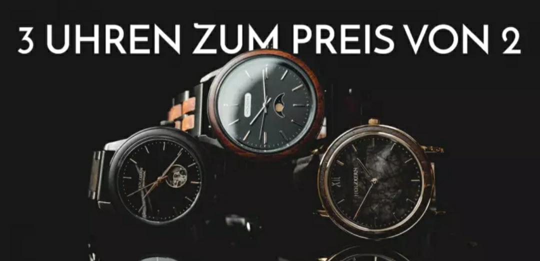 Holzkern-Uhren - 3 zum Preis von 2