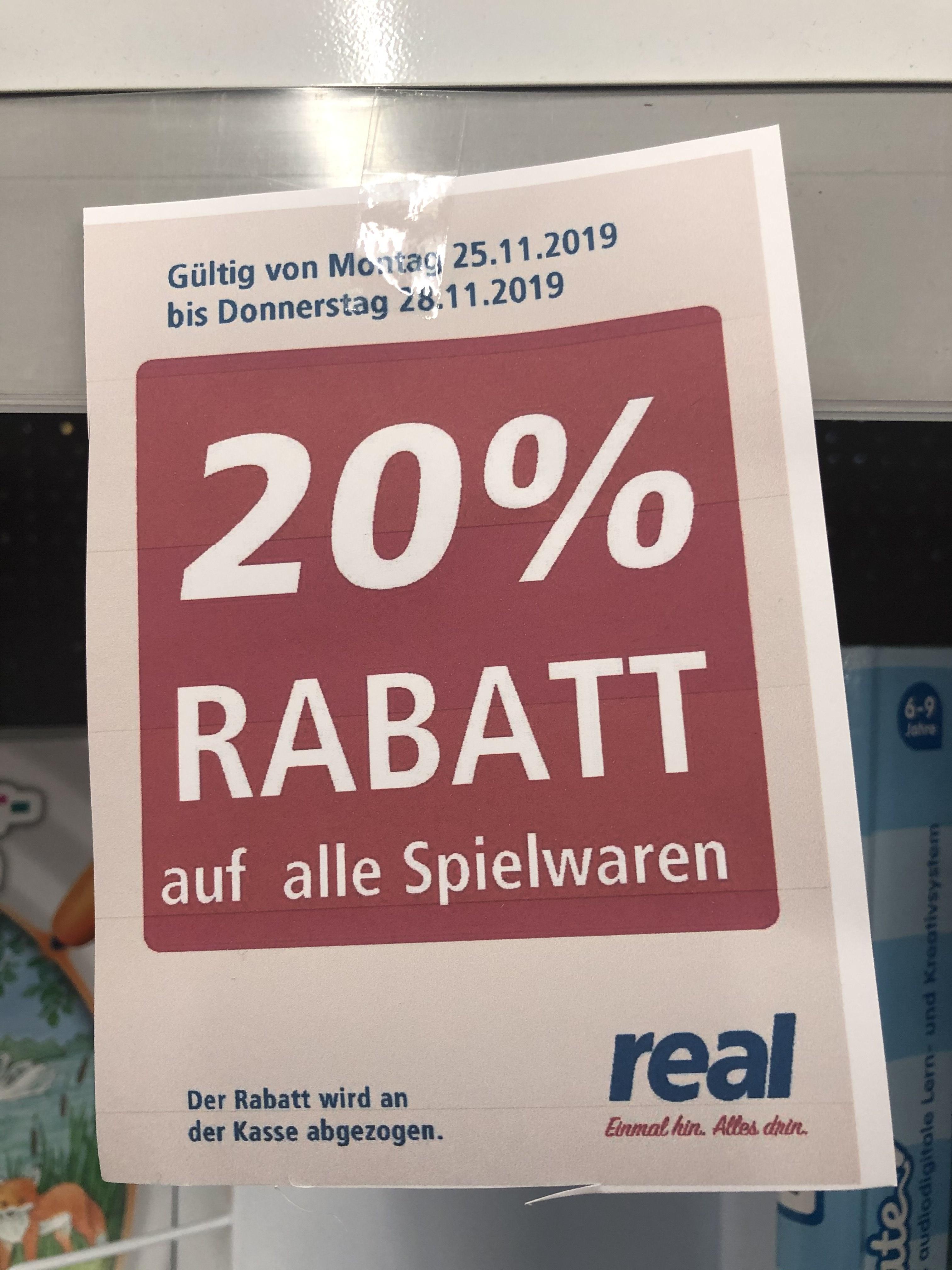 Real - 20% auf alle Spielwaren in Bocholt [Lokal]