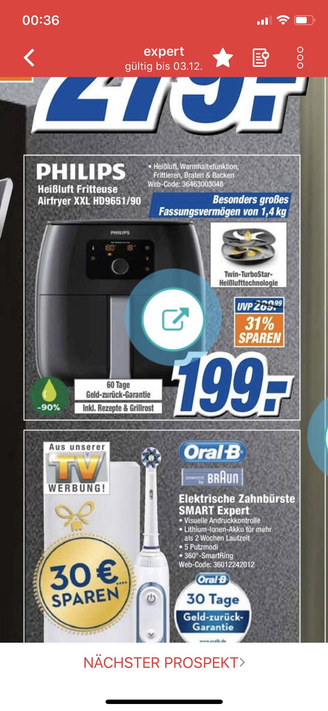 (LOKAL) Philips Avance Collection Airfryer XXL HD9651/90 für 199 € bei Expert in Neuss,Bergheim uvm