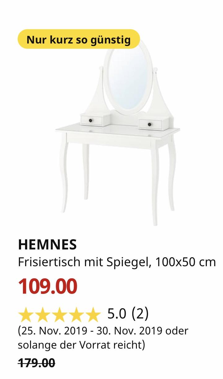 (IKEA Düsseldorf) HEMNES Frisiertisch mit Spiegel, weiß, 100x50 cm