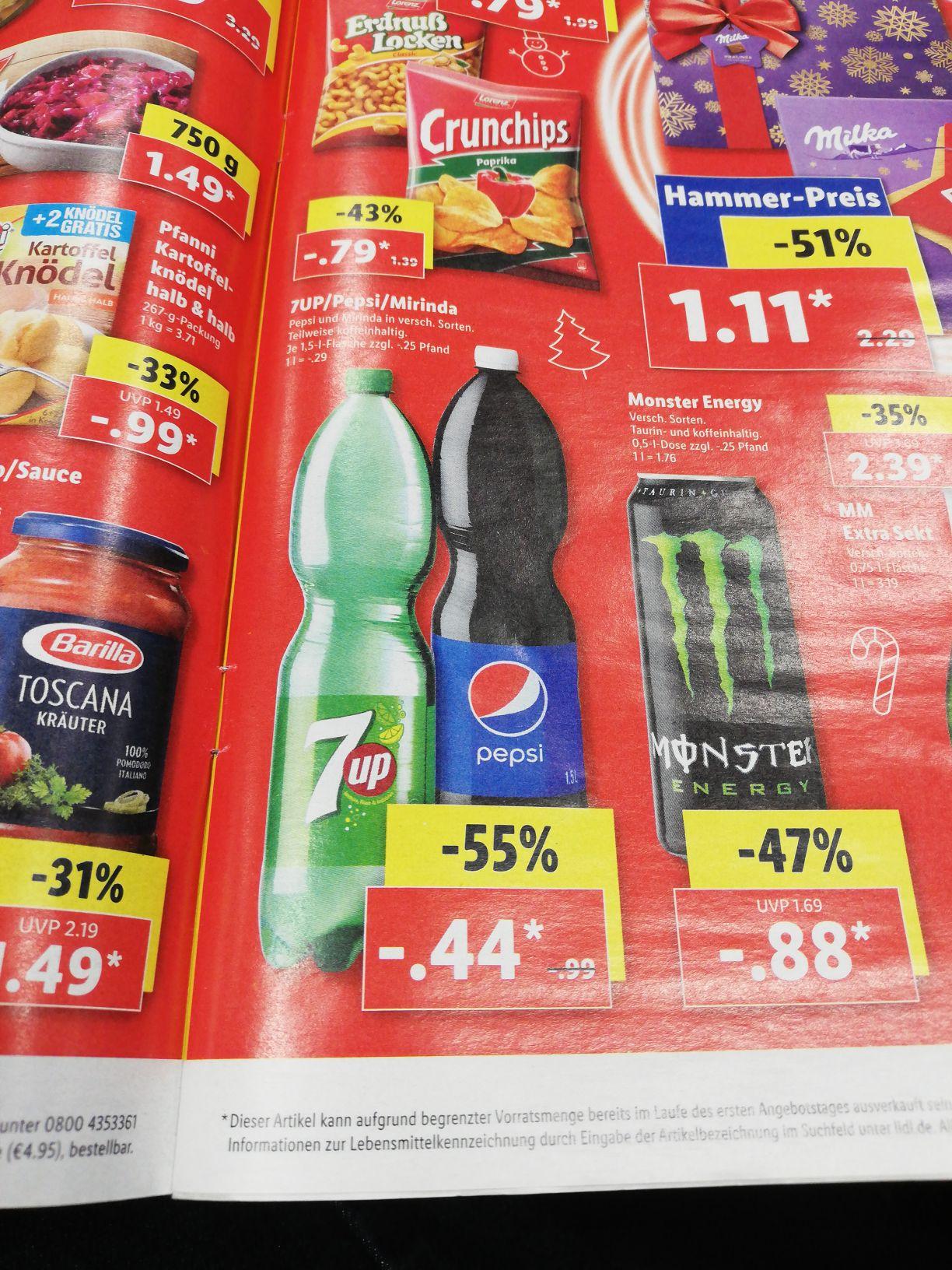 (LIDL) Pepsi/Mirinda/7Up ab 9.12 bis 21.12