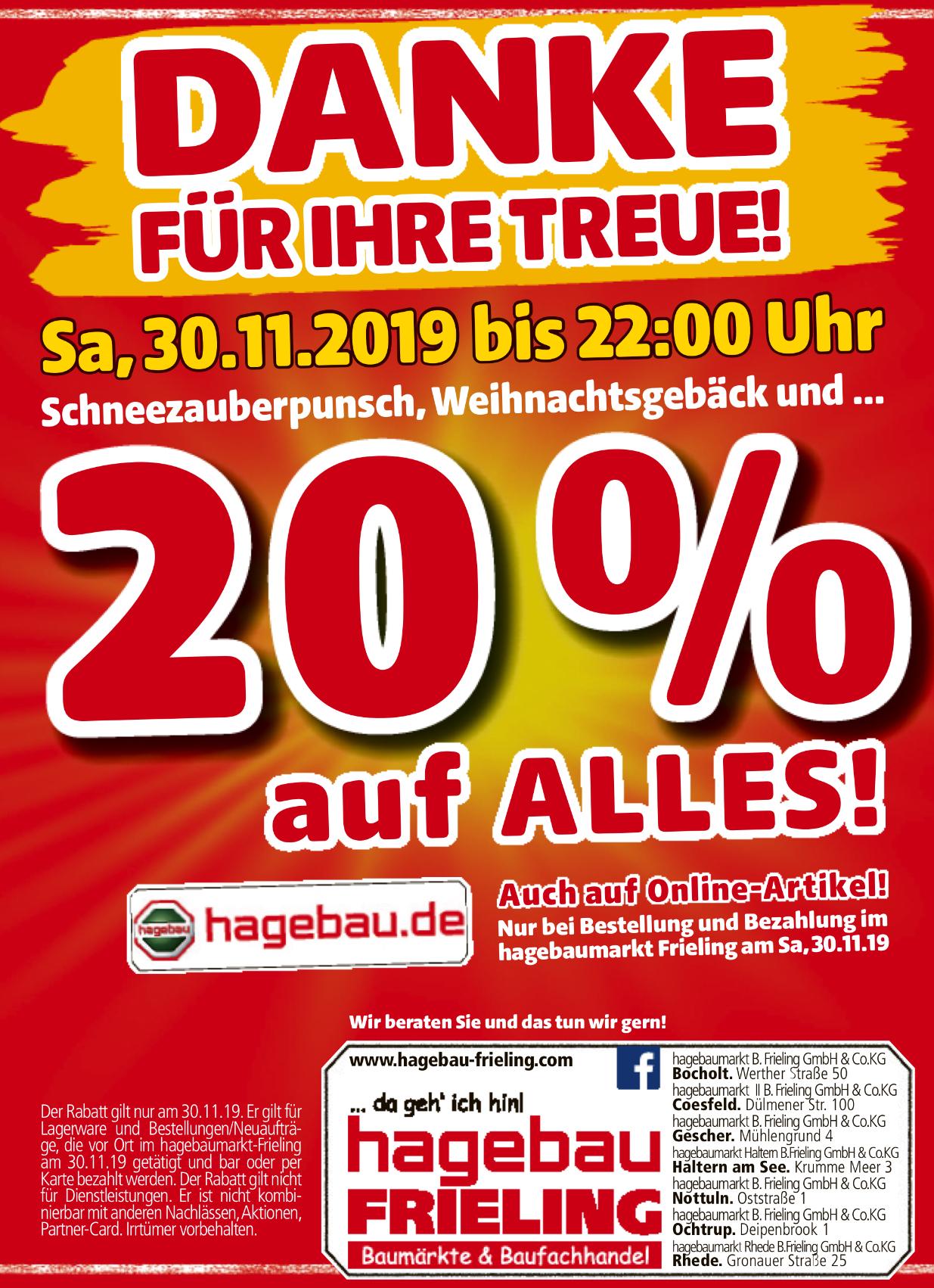20 % auf alles online (bei Abholung) und offline, lokal Hagebaumarkt Frieling Gruppe Coesfeld, Bocholt usw.
