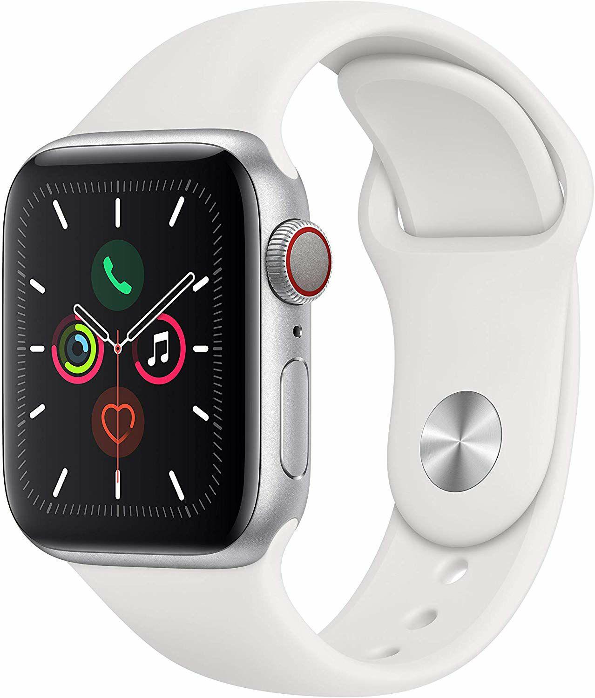 Apple Watch Series 5 (GPS + Cellular) 40mm Aluminium mit Sportarmband weiß (Amazon UK)