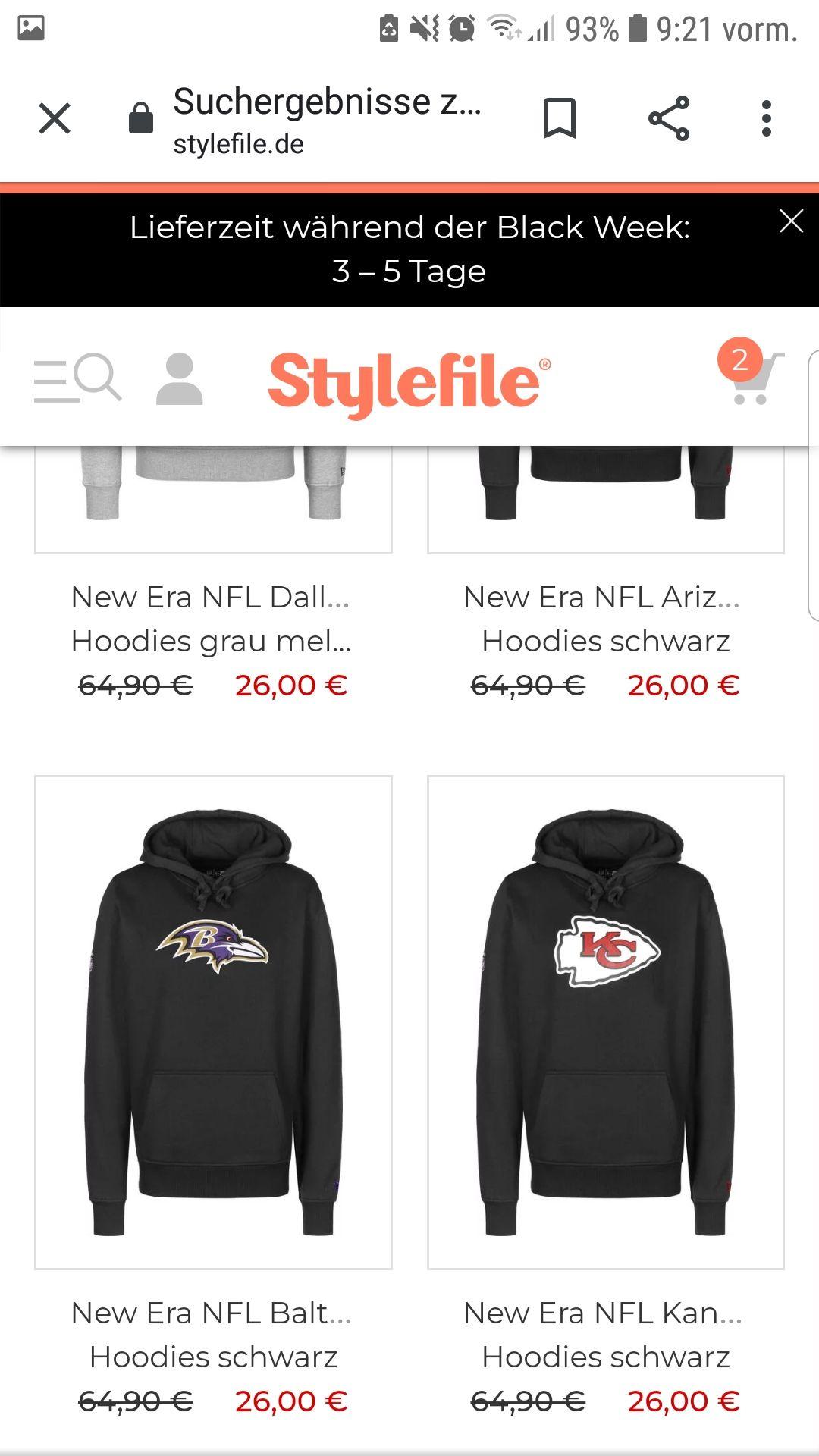 NFL Hoodies, Shirts, caps und beanies stark reduziert