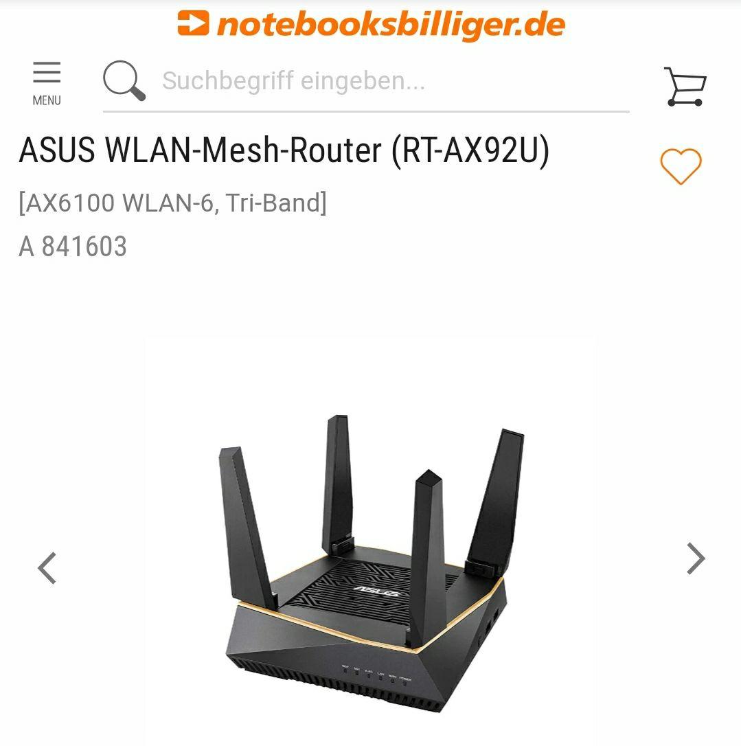 ASUS WLAN-Mesh-Router (RT-AX92U) [AX6100 WLAN-6, Tri-Band] (Bestpreis)