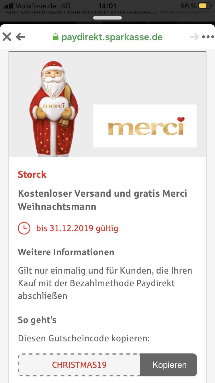 (Paydirekt) Gratis Weihnachtsmann und Gratis Versand beim Kauf eines beliebigen Artikels aus dem Sortiment (ohne MBW)