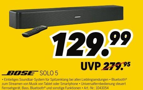 Bose Solo 5 Soundbar für 129,99€ | Nintendo New 2DS XL + Mario Kart 7 für 99,99€