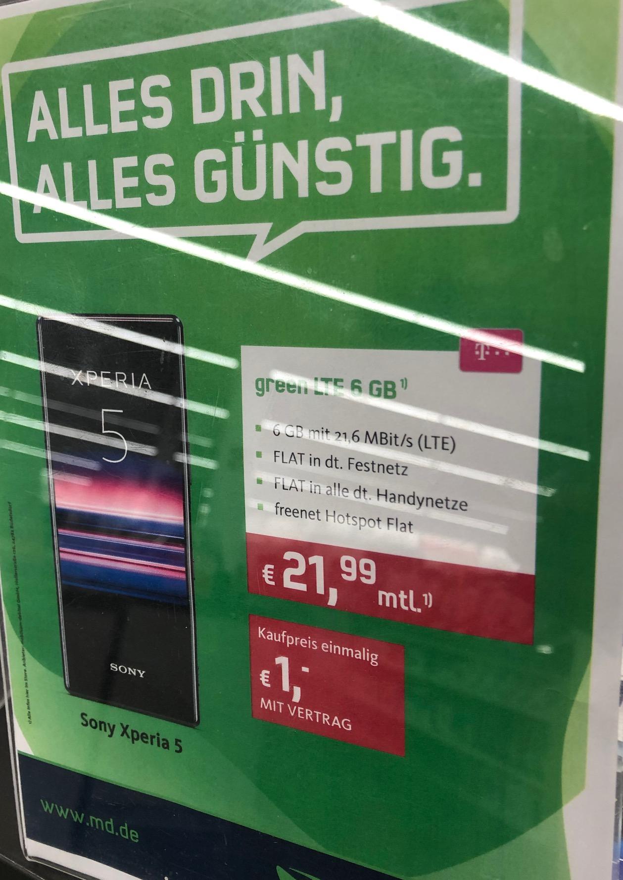 Lokal Media Köln Sony Xperia 5 für 21,99 € Monat für 1 € mit 6 GB LTE mobilcom oder ZTE Axon 10 Pro für 9,99 € Mon. für 49 € mit 4 GB LTE o2