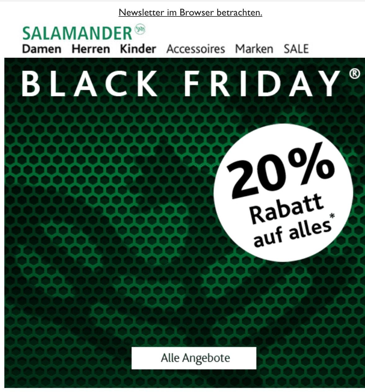 Salamander Shop - 20% auf alles - Black Friday Sale und kostenloser Versand für alle