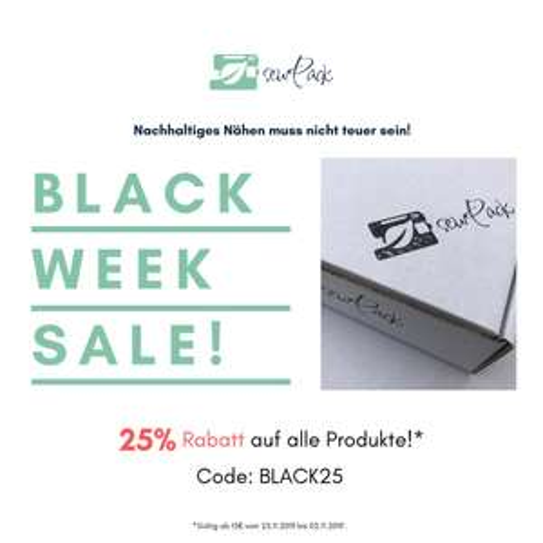 Black Sale bei Sewpack mit 25% Rabatt
