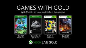(Games with Gold Dezember) Jurassic World Evolution (Xbox One) Toy Story 3, Insane Robots & Castlevania: Lords of Shadow - Mirror of Fate HD
