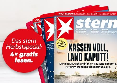 stern - Jetzt 4 Ausgaben kostenlos & versandkostenfrei (problemlose Kündigung nicht vergessen)