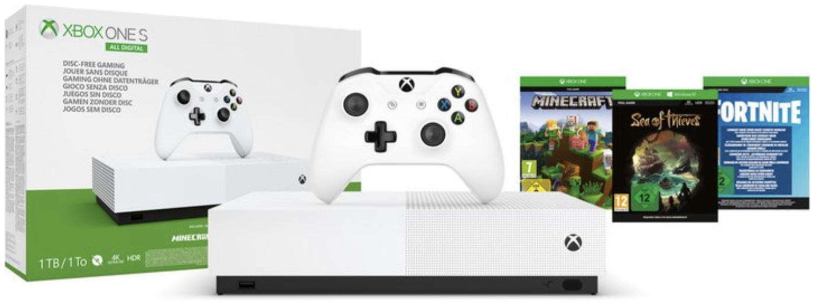 Microsoft Xbox One S 1TB All Digital Edition + Minecraft, Sea of Thieves, Fortnite Battle für 129€ bei Abholung oder 133,99€ inkl. Versand