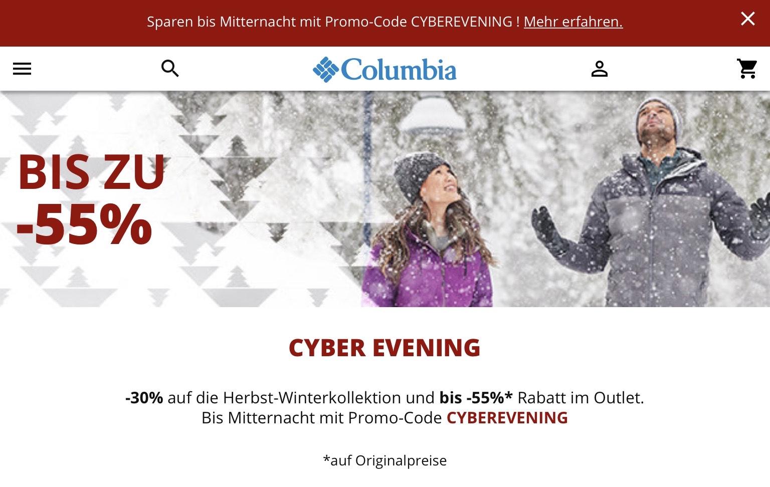 Columbia Cyber Evening mit bis zu 55%