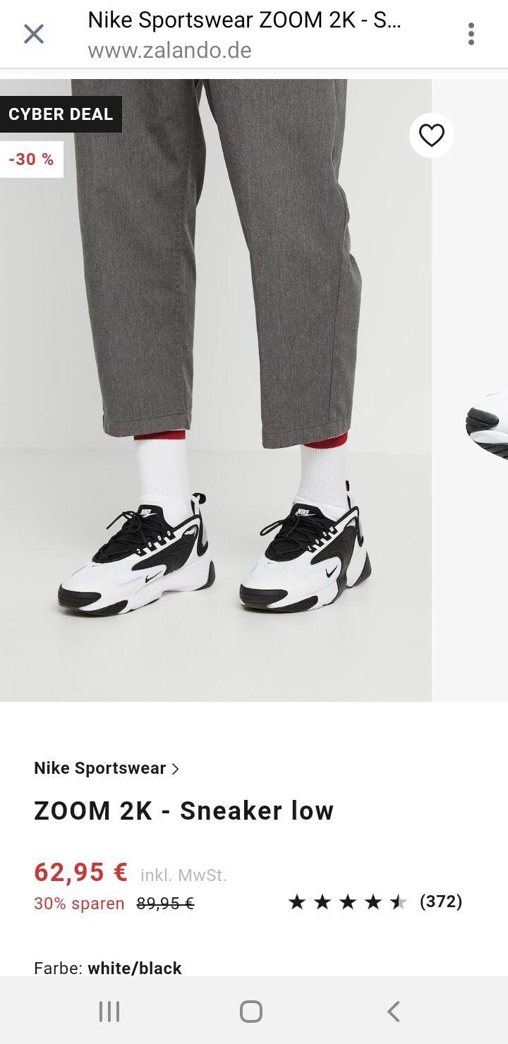 [Nike Zoom 2K] bei Zalando Sonderangebot Schwarz/Weiß