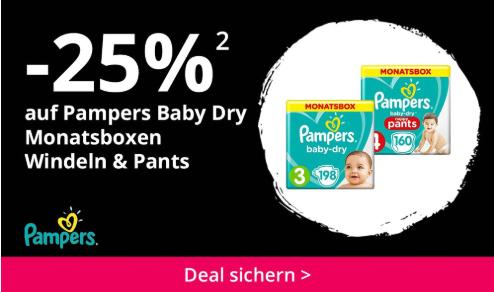 -25% auf Pampers Baby Dry Monatsboxen Windeln & Pants