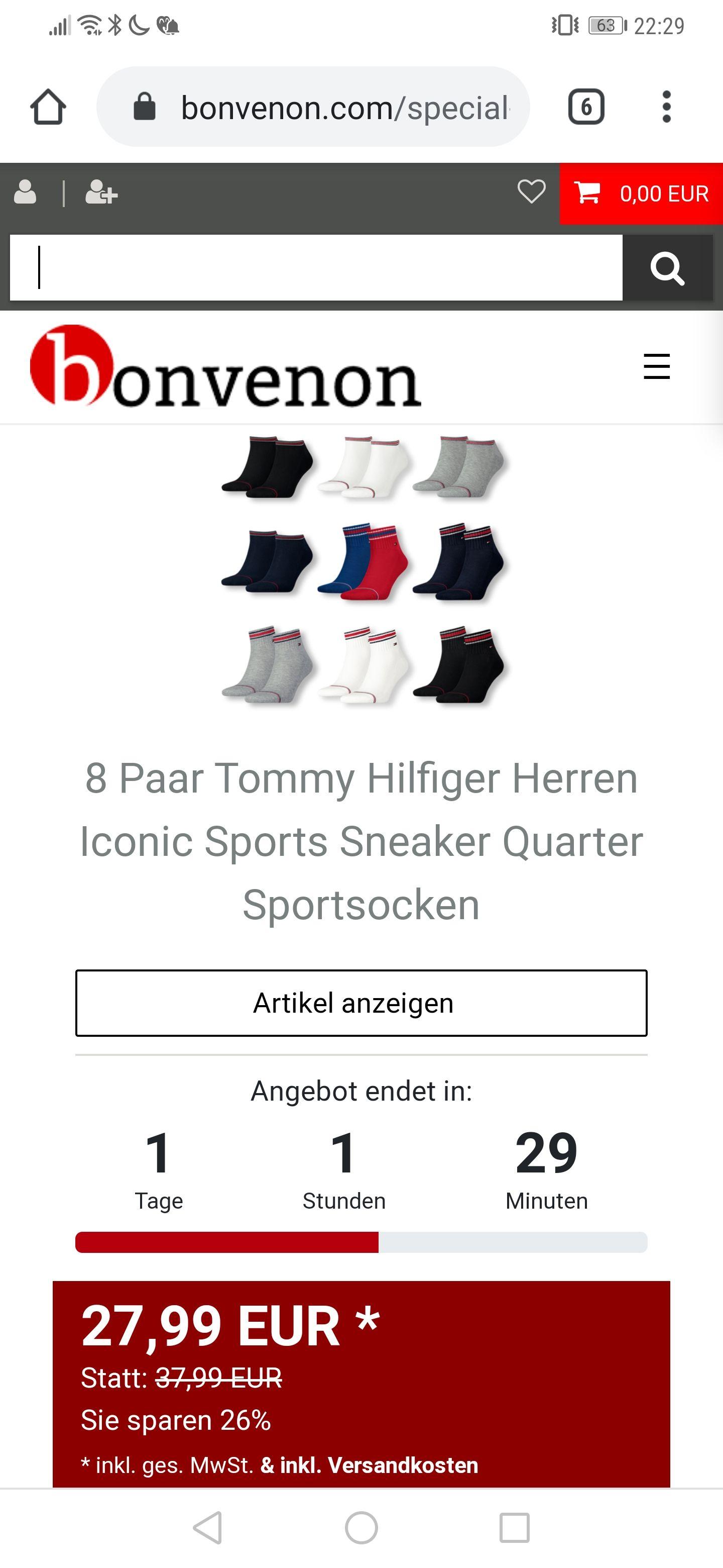 Black Deals Tommy Hilfiger Iconic Socken Quarter oder Sneaker im 8er Pack - Bis morgen -
