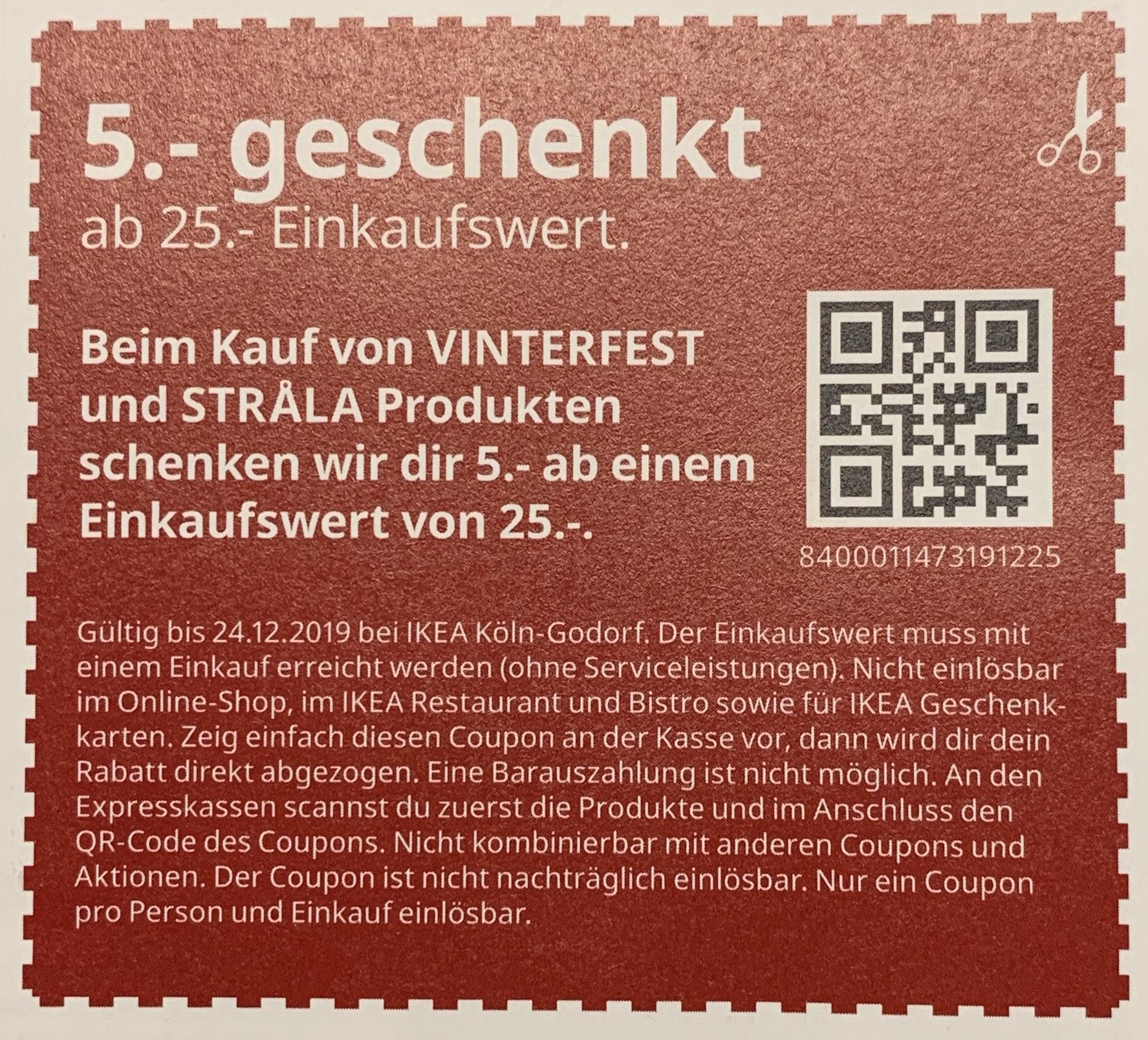 Ikea Coupon ab 25,-€, 5€ geschenkt beim Kauf von Vinterfest und Strala Produkten - Lokal Ikea Godorf