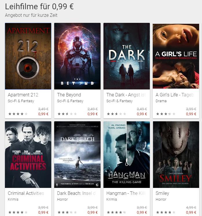 Ausgewählte Leihfilme für 0,99€ im Google PlayStore