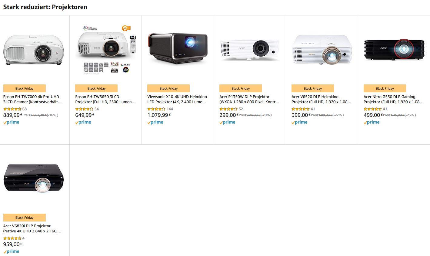 Amazon Black Friday - Übersicht Beamer Tagesangebote ab 299,00€