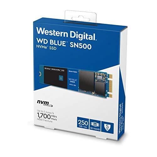 WD Blue SN500 NVMe SSD, M.2, Lesegeschwindigkeit bis zu 1.700 MB/s, 250 GB