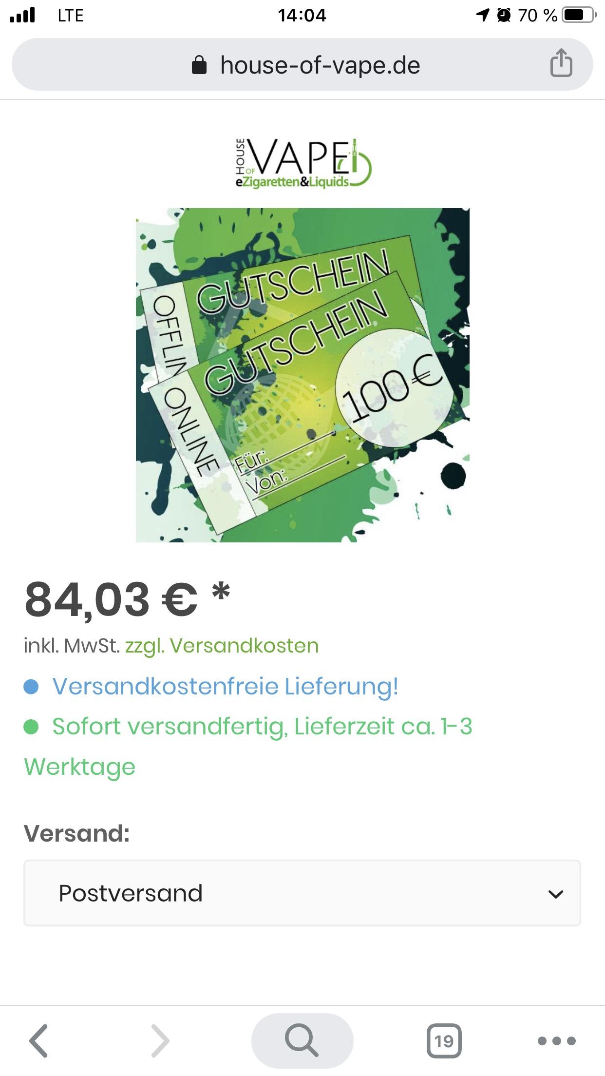 100€ Dampfergutschein HouseOfVape