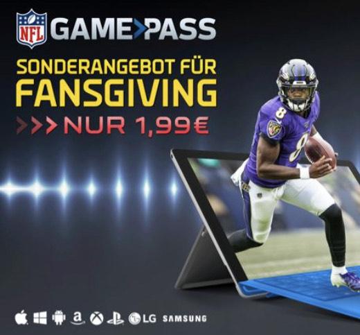 NFL Gamepass 1 Woche für 1,99€