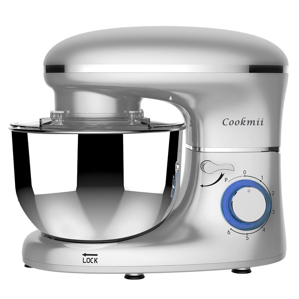 Cookmii 1500W Knetmaschine Küchenmaschine Rührmaschine 5,5 L mit Edelstahlschüssel Teigmaschine
