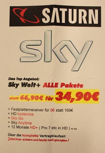 Sky Doppel-Abo für Rechnerisch  30,74 - Saturn Oldenburg