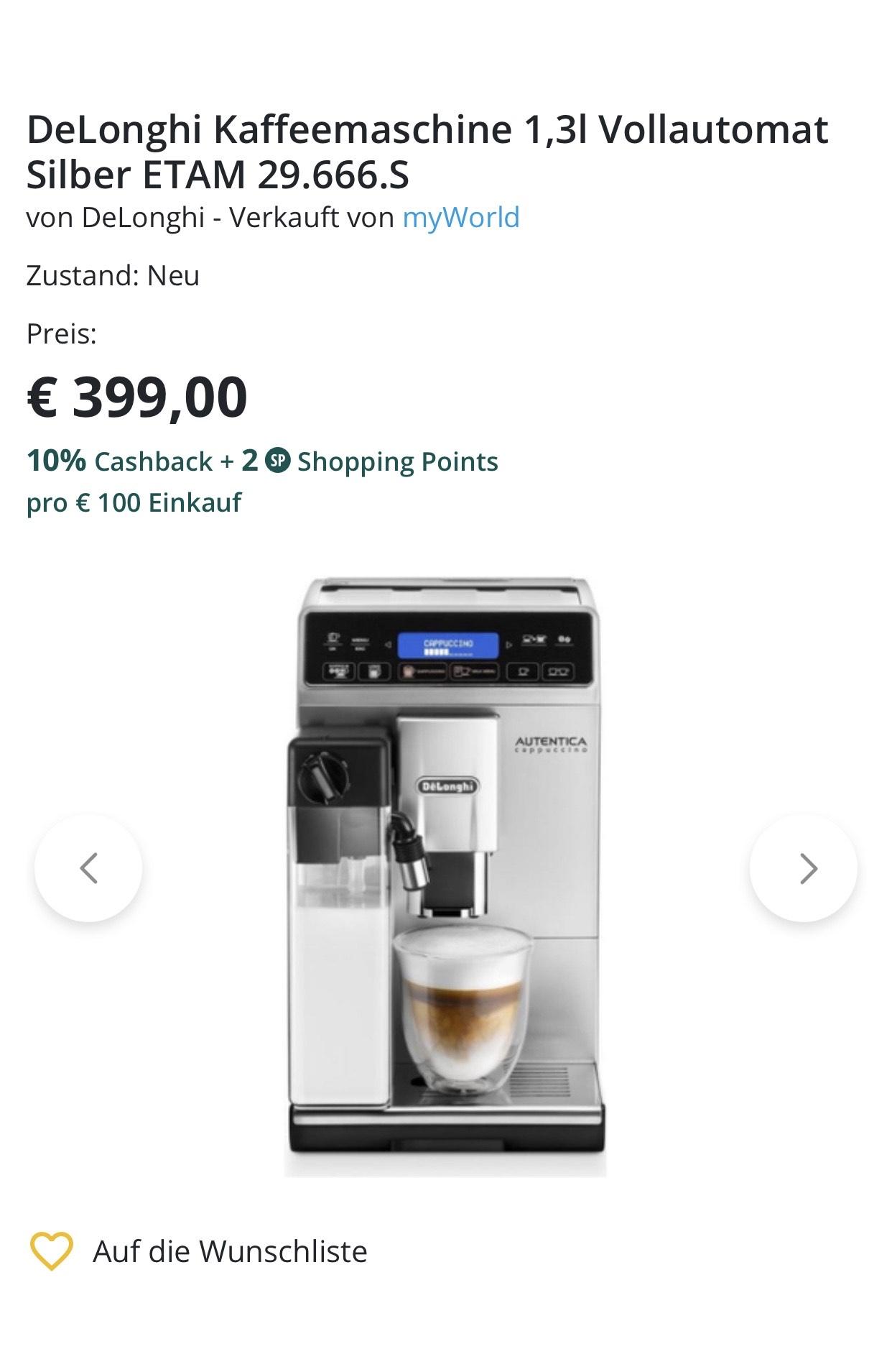 DeLonghi Kaffeemaschine 1,3l Silber ETAM 29.666.S