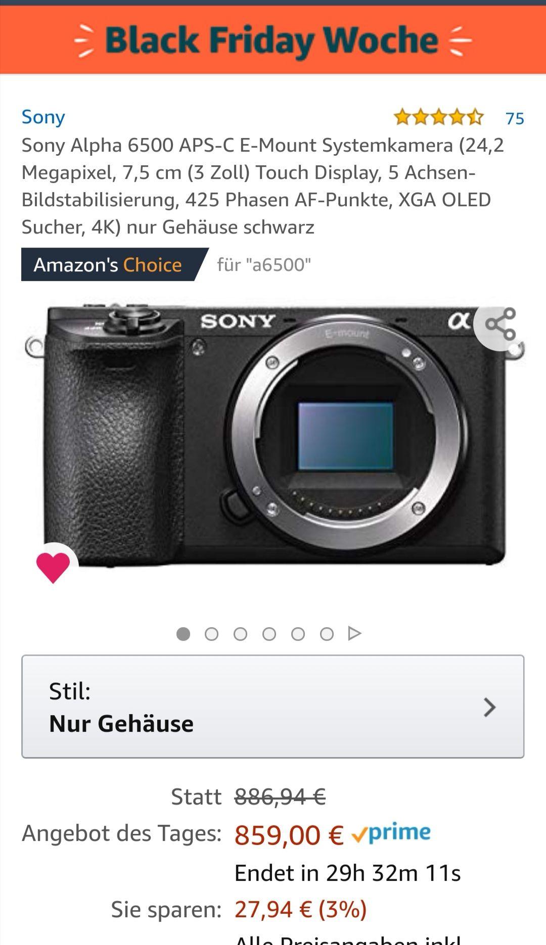 Sony Alpha 6500 BF Deal Amazon