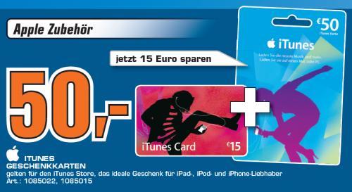 iTunes Karten 50 Euro + 15 Euro (65 Euro) für nur 50 Euro im Media Markt Bielefeld