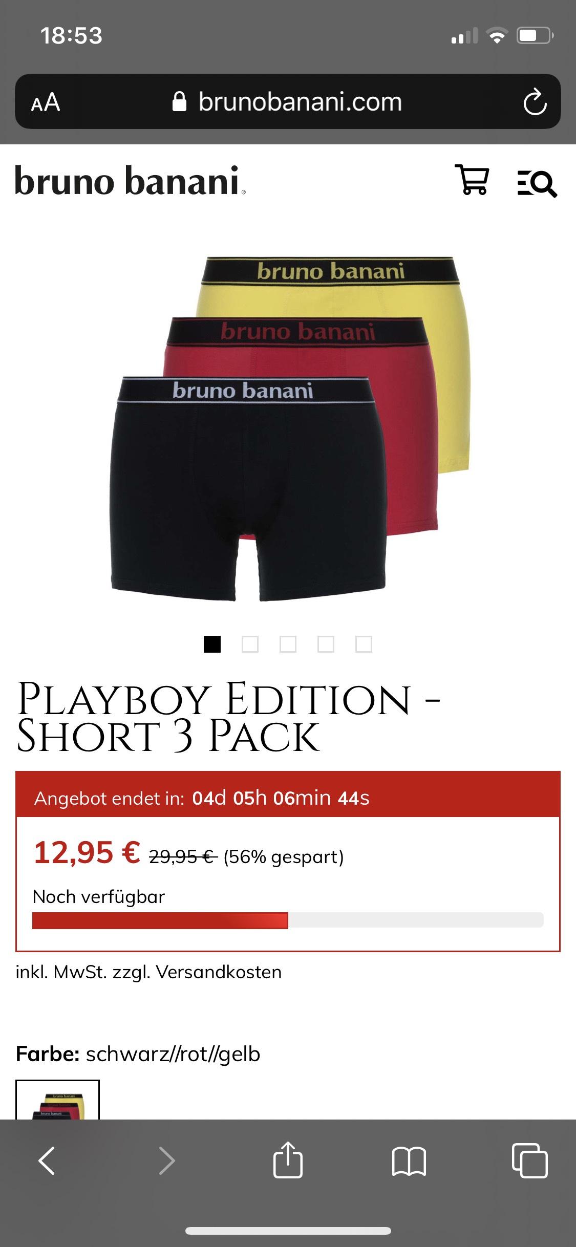 Cyber week sale bis zu 70% bei Bruno Banani, z.B. Playboy Edition Shorts 3er Pack für 12,95 +VSK
