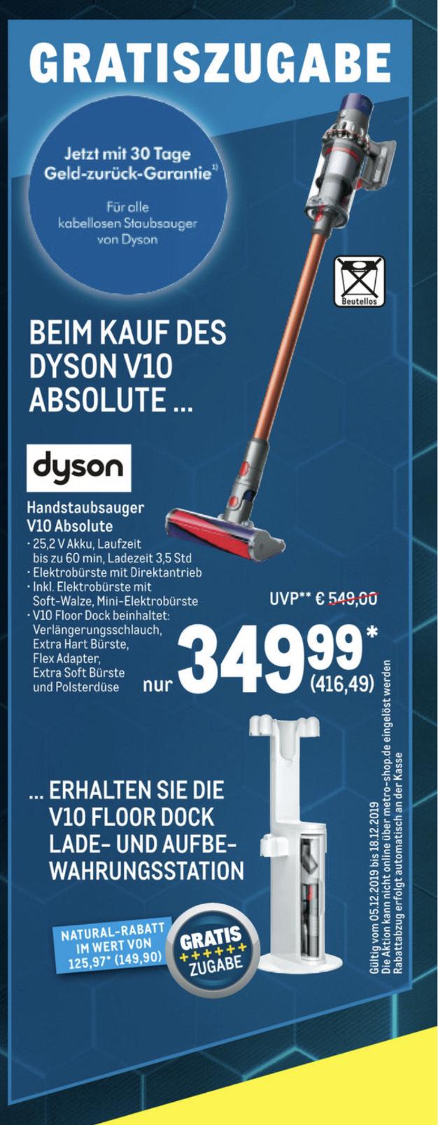 [Metro] Dyson V10 Absolute + gratis Floordock Lade- und Aufbewahrungsstation