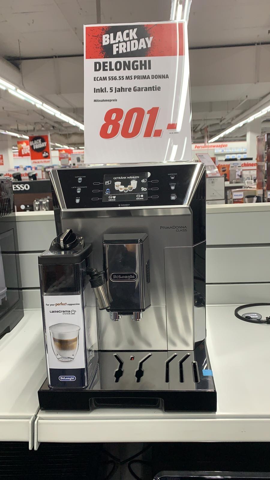 (Lokal Krefeld) DeLonghi ECAM 556.55.MS Kaffeevollautomat für 801 € inkl. 5 Jahres Garantie bei Media Markt