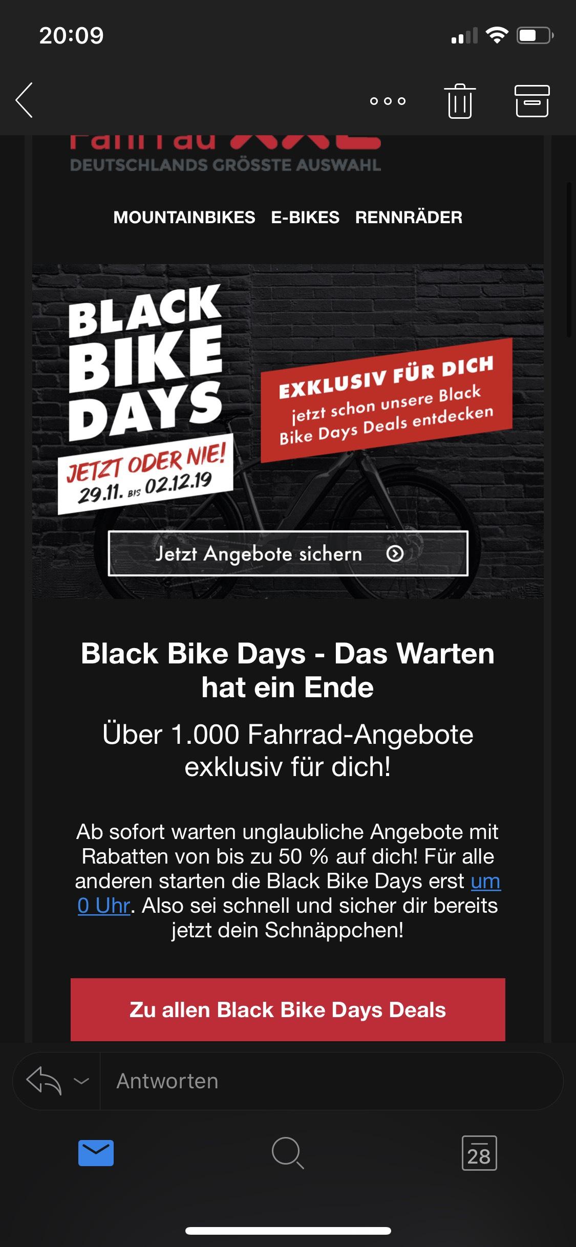 Black Friday | Bis zu 50% Rabatt auf über 1.000 Fahrräder bei Fahrrad XXL | Mountainbikes, Rennräder usw.
