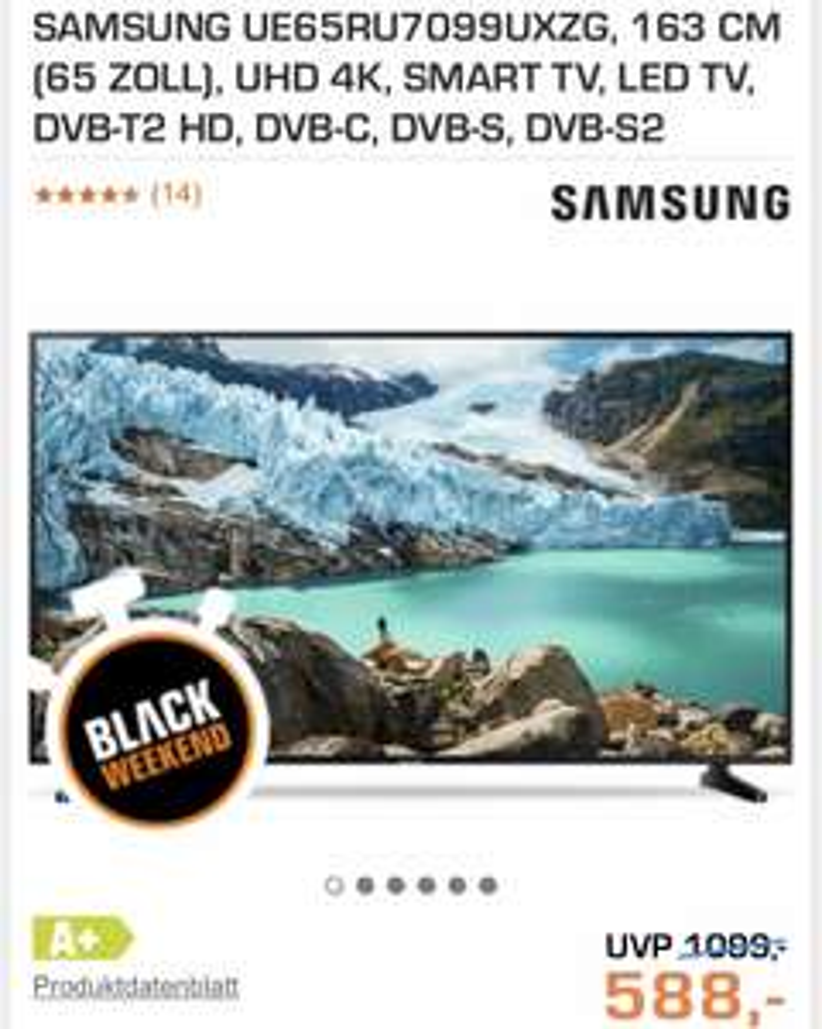SAMSUNG UE65RU7099UXZG, 163 CM (65 ZOLL), UHD 4K, SMART TV, LED TV,