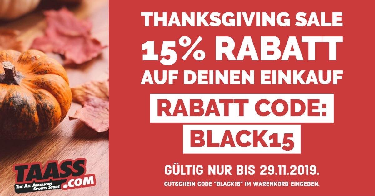 Taass.com - 15% sparen beim Thanksgiving Sale