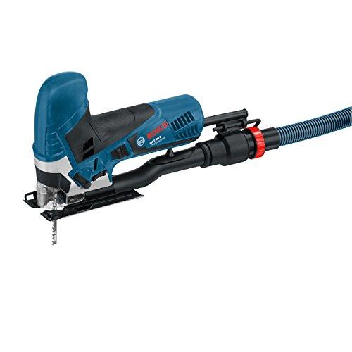 Bosch Professional Stichsäge GST 90 E (650 Watt, 1x Sägeblatt, Absaug-Set, Spanreißschutz, Schnitttiefe in Holz: 90 mm, im Koffer)