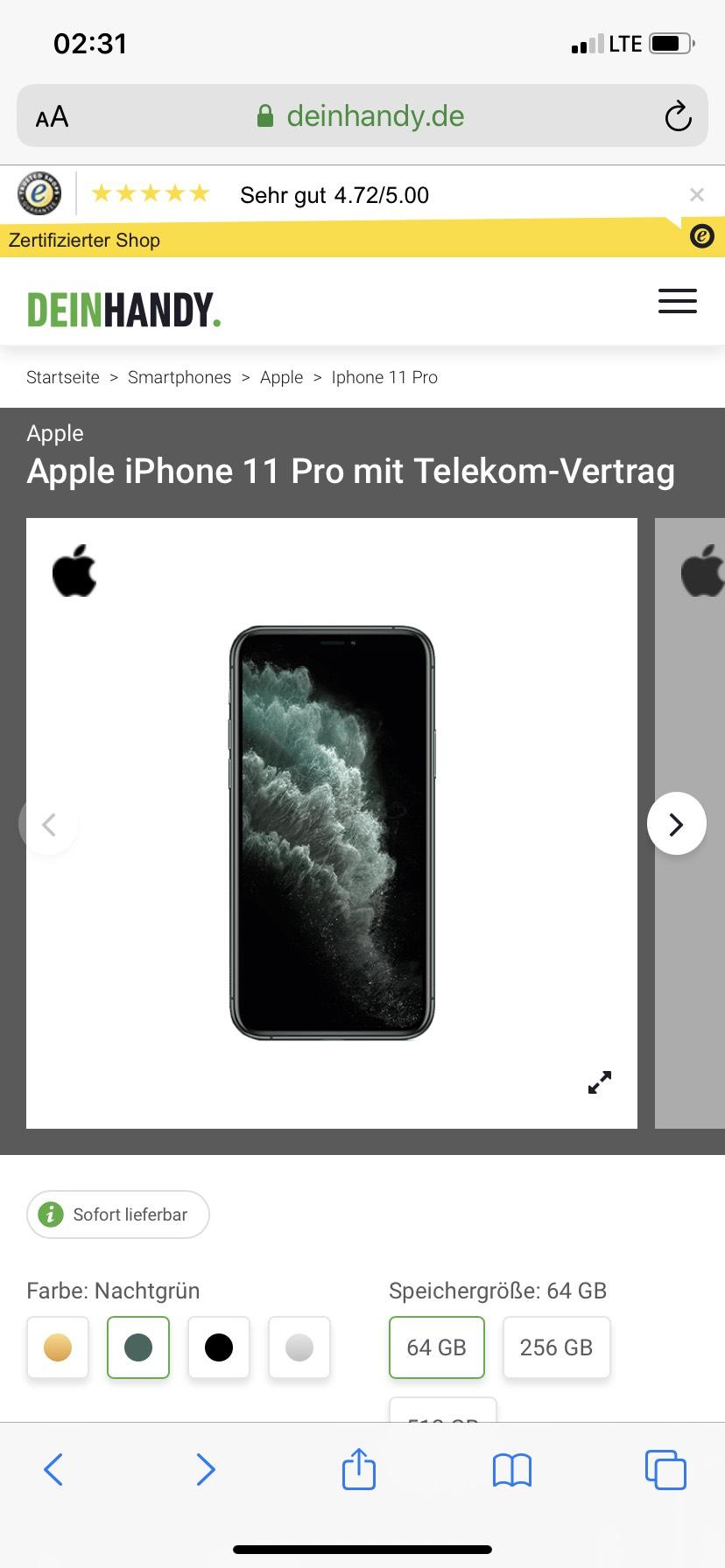 Apple iPhone 11 Pro mit Telekom-Vertrag Young 48GB