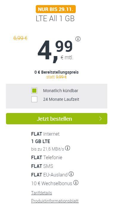 Handytarif winSIM Allnet Flat + 1GB Daten, 4,99€ mtl. kündbar, 0€ Bereitstellung